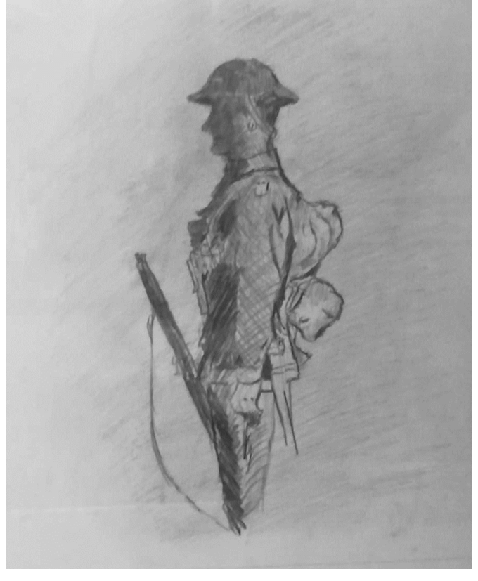 Hand drawing of soldier