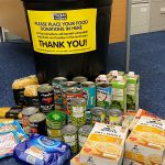 food donations from a food collection point