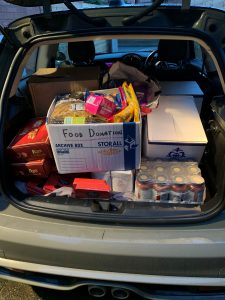 car boot full of food donations