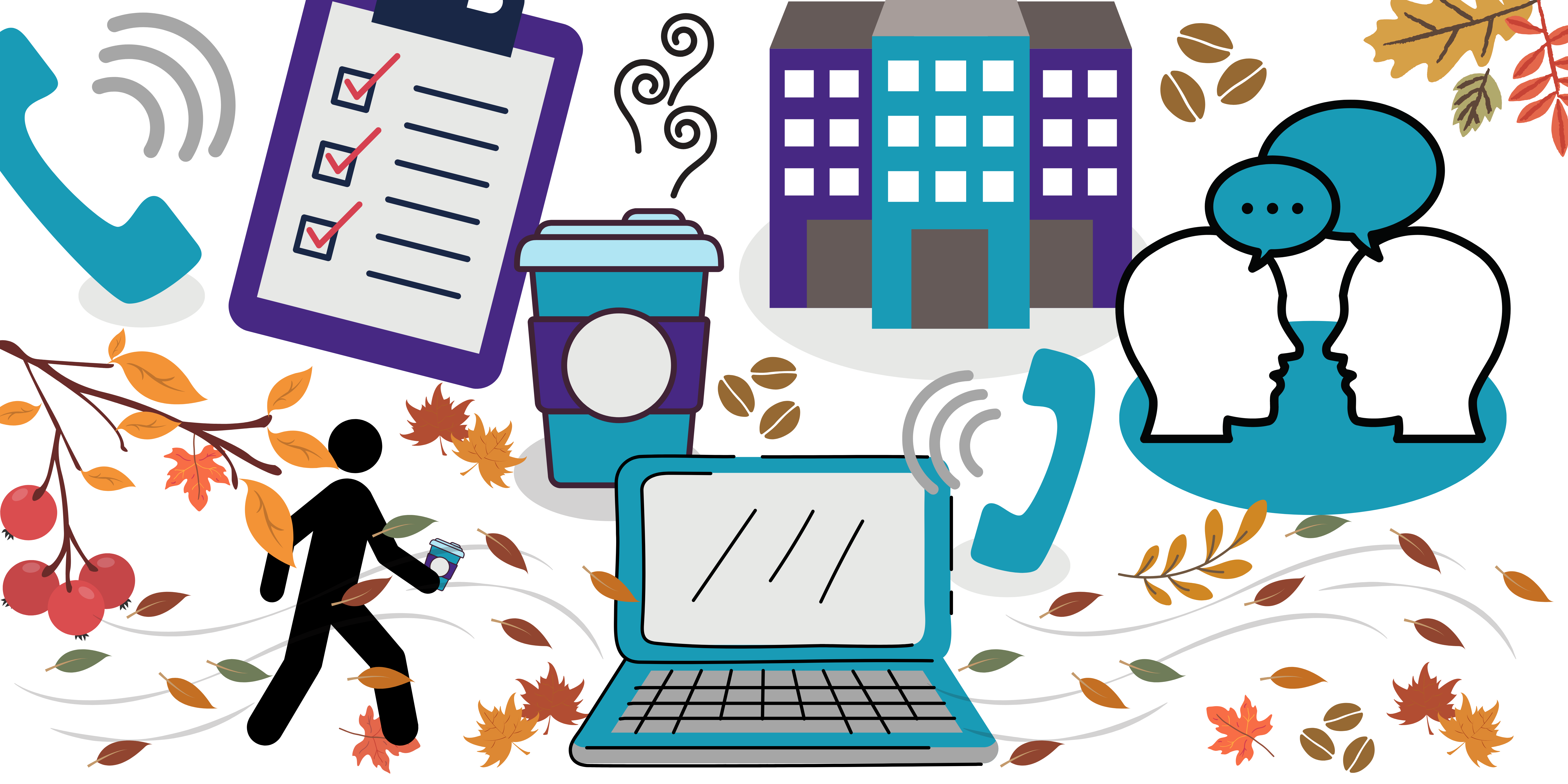 Infographic of James' day in the life, featuring coffee cups, autumn walks, phone calls, laptops and more coffee